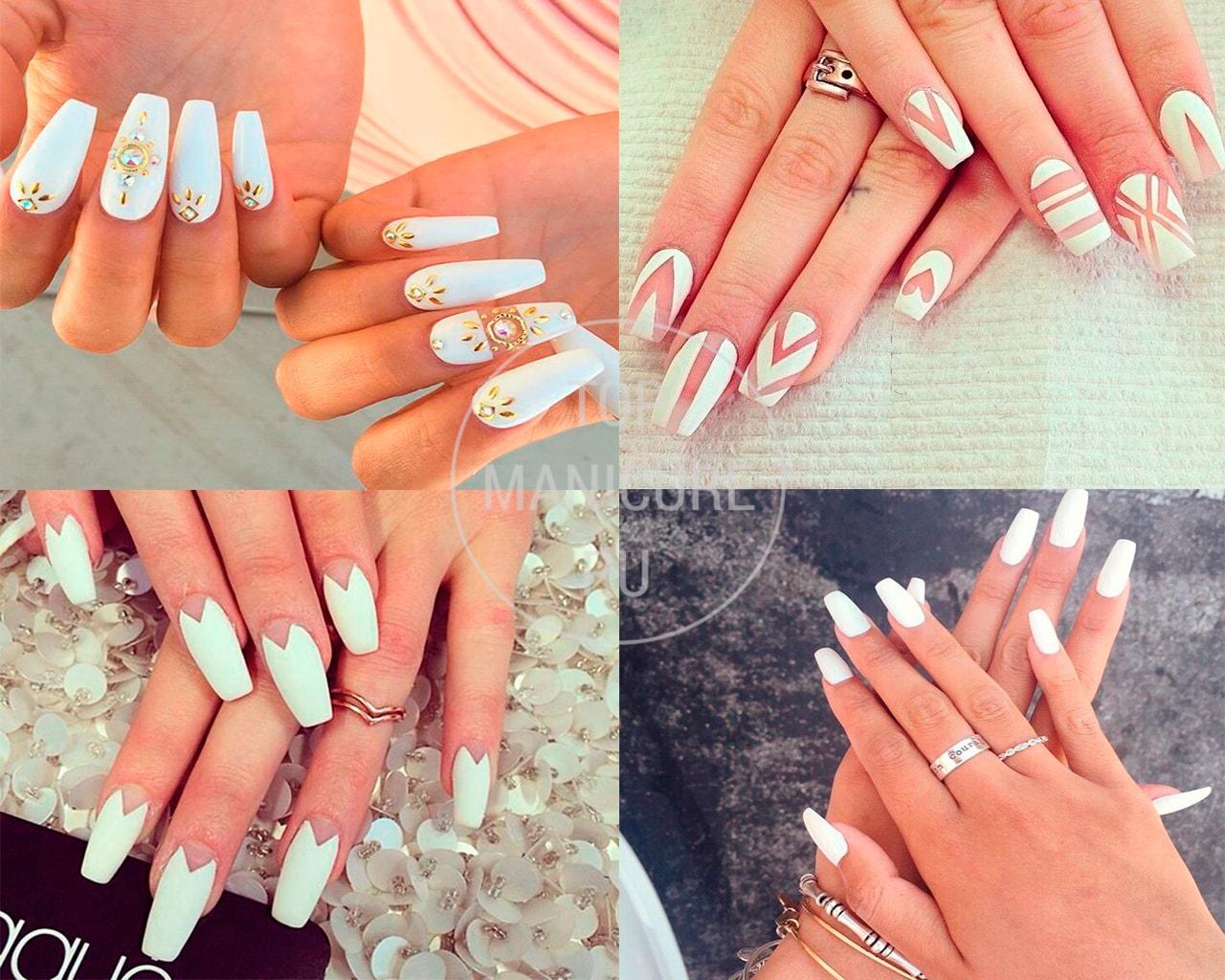 Белые ногти Балерина