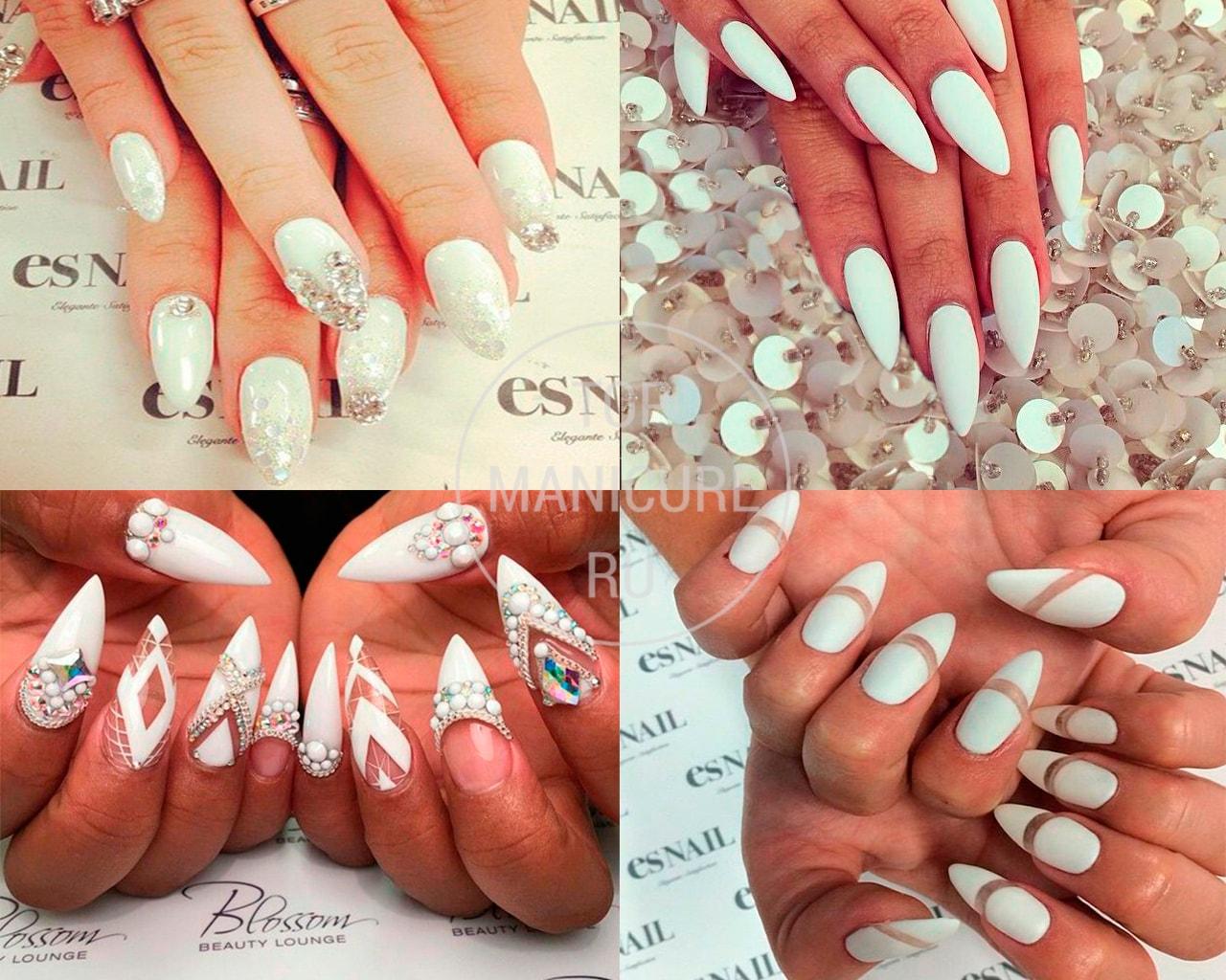 Белые острые ногти
