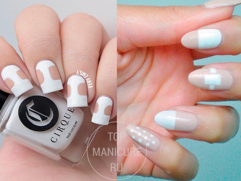 Бежевый дизайн ногтей с белым лаком