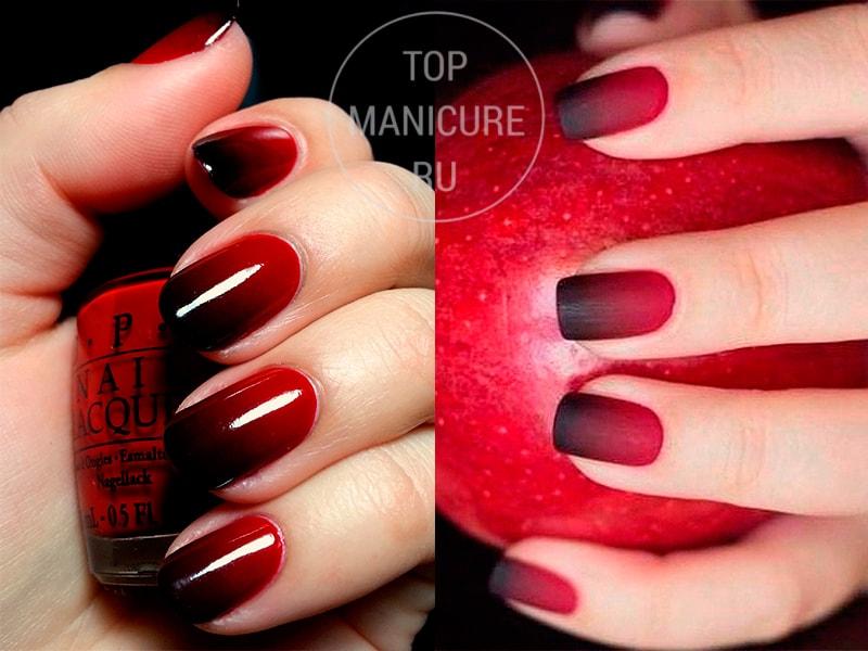 Ногти градиент красный чёрный