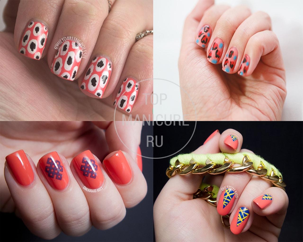Коралловые ногти с рисунком 13 фото идей красивого