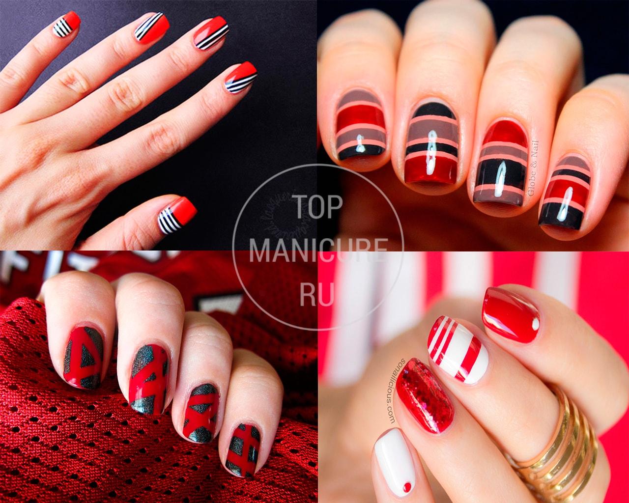 Красный маникюр с лентой для дизайна фото
