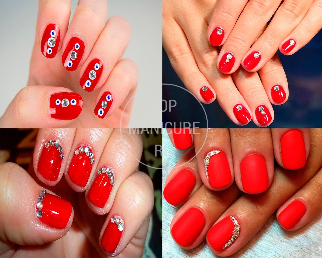 Дизайн ногтей с красным лаком и стразами