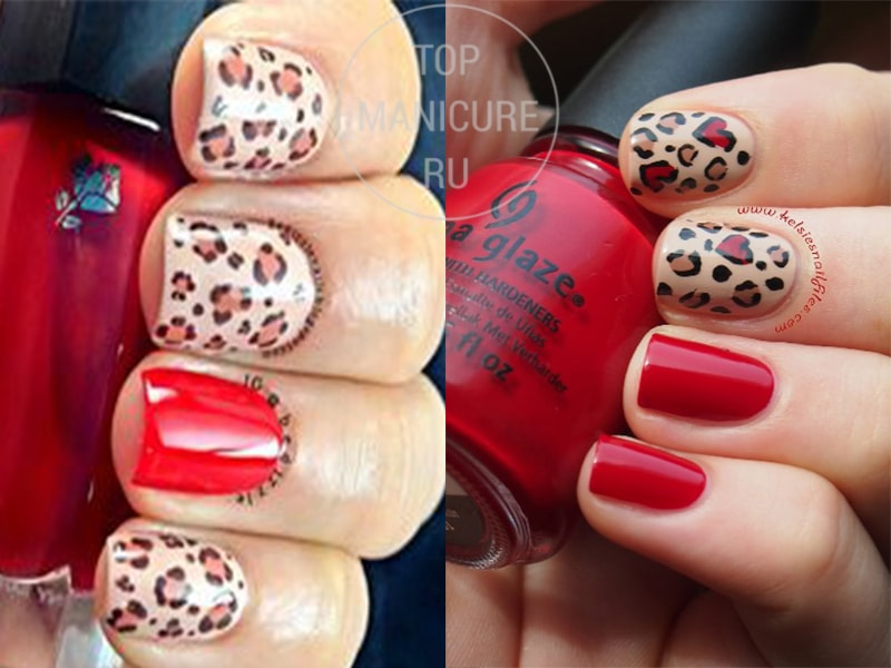 Маникюр нюд с красным лаком и леопардовым принтом
