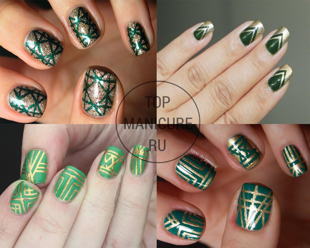 Дизайн ногтей зеленый с золотым фото