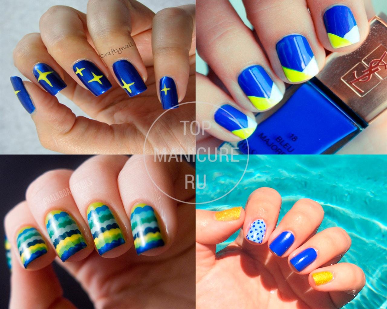 Дизайн на желтых ногтях с синим