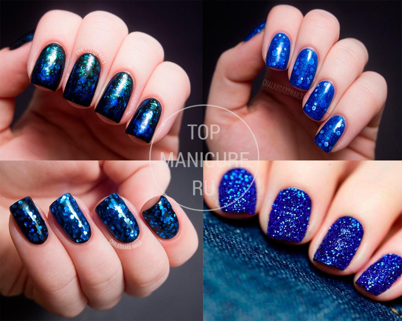 Ногти с синими блестками фото