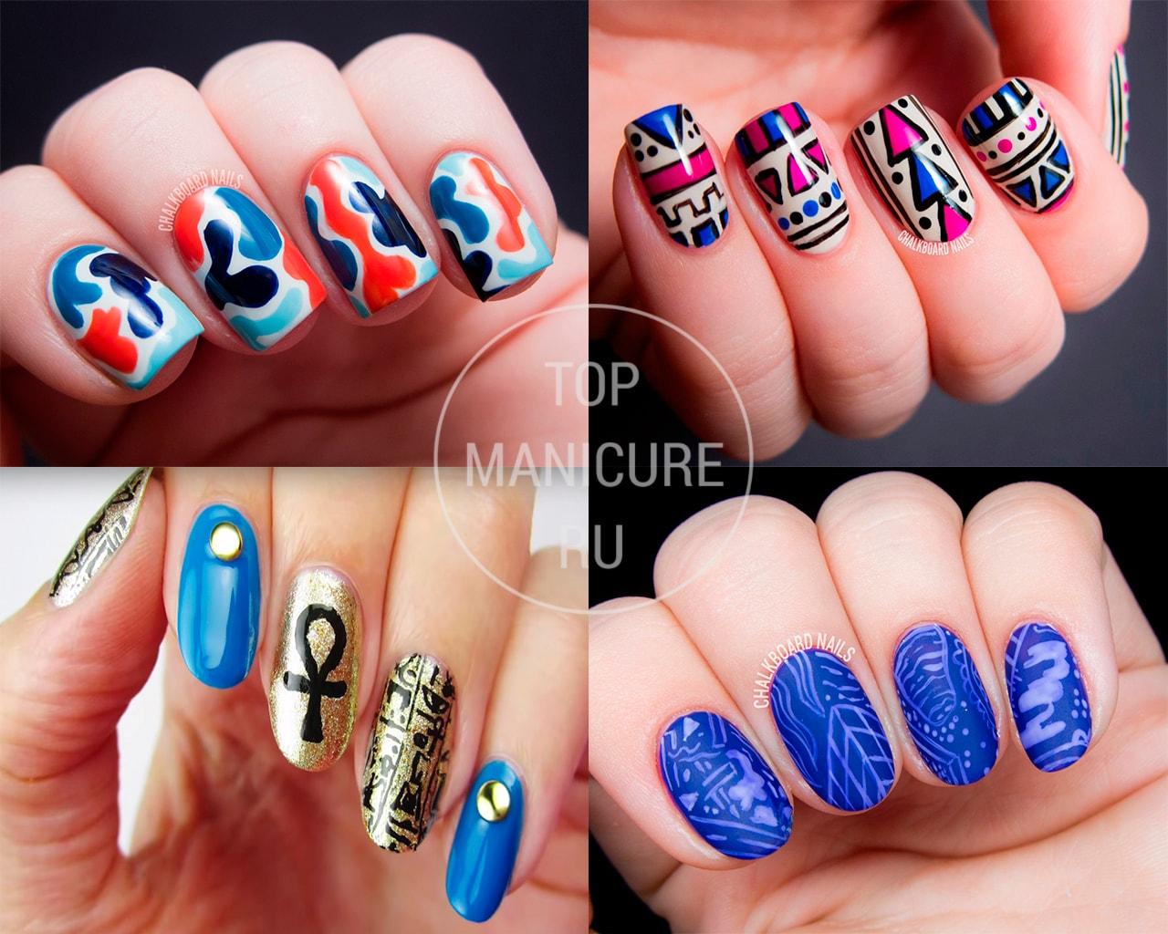 Дизайн ногтей в синем-красном цвете фото