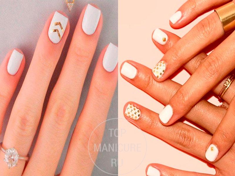 Белые короткие ногти с золотом
