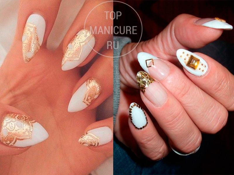 Белые острые ногти с золотом