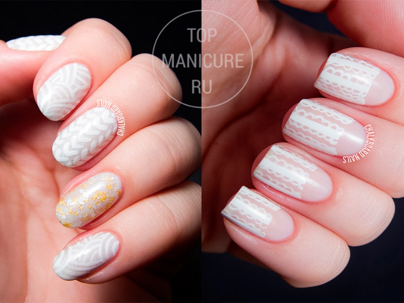 Белые рисунки на бежевых ногтях