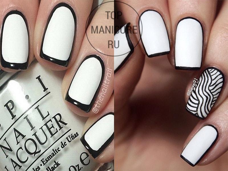 Белый маникюр с черным контуром
