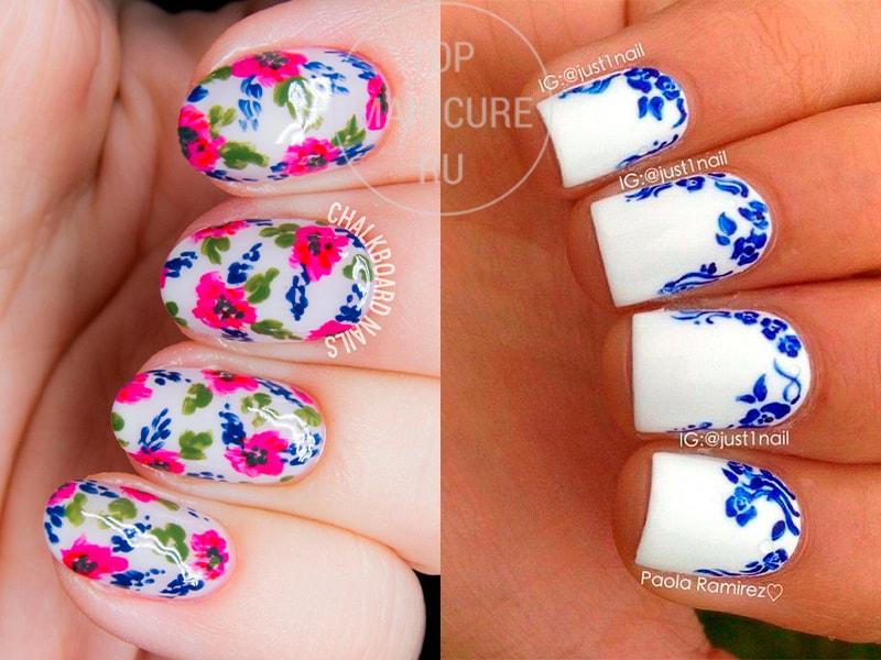 Белый маникюр с синими цветами