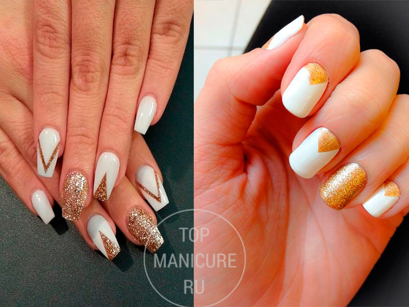 Дизайн ногтей бежевый с золотым