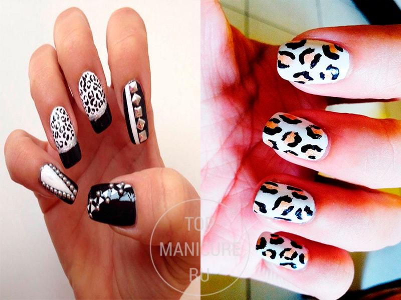 Черно-белый леопардовый маникюр