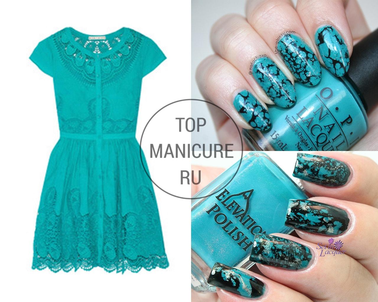 Цвет ногтей под бирюзовое платье фото