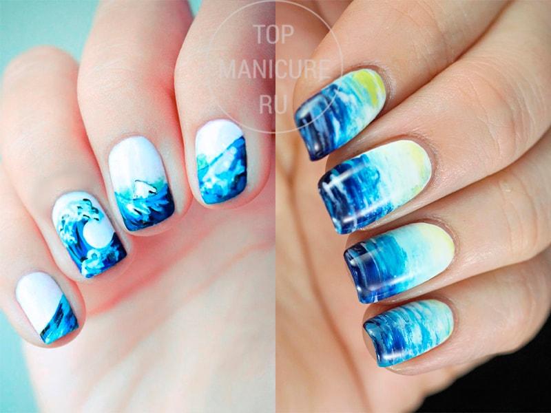 Маникюр с синим и белым лаком морская тематика