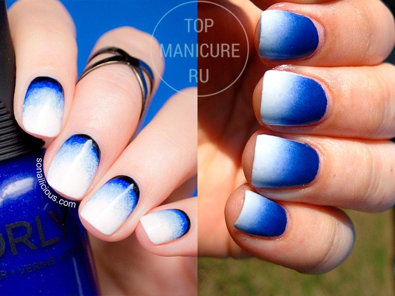 Сине-белый маникюр градиент