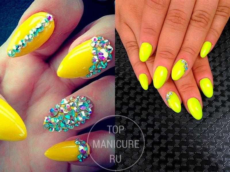 Ногти желтые со стразами