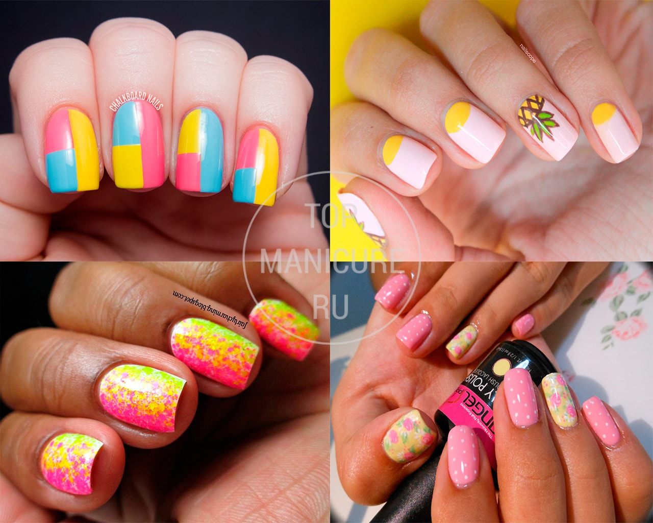 Дизайн ногтей желтый с розовым