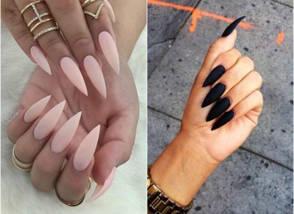 Простой дизайн длинных ногтей фото