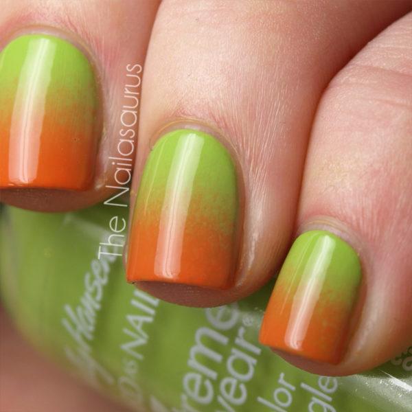 Оранжево зеленые ногти