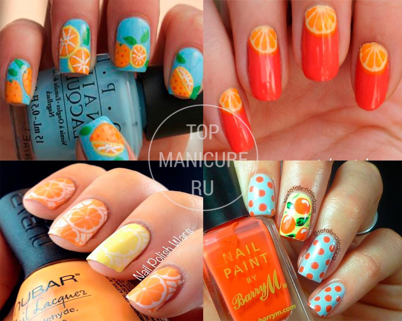 Апельсин на ногтях