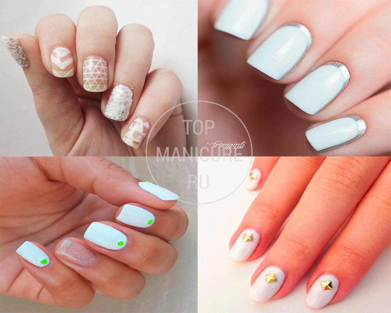 Белые ногти квадратной формы