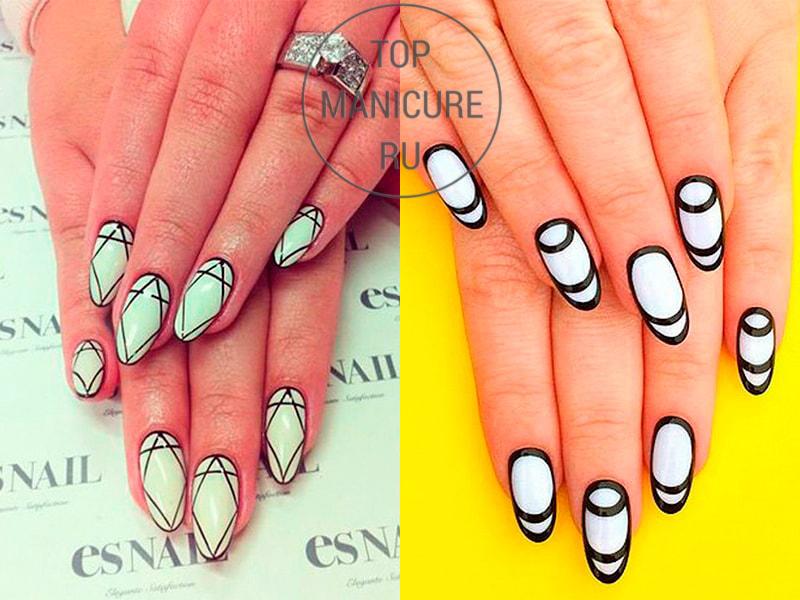 Белые ногти с черным лаком