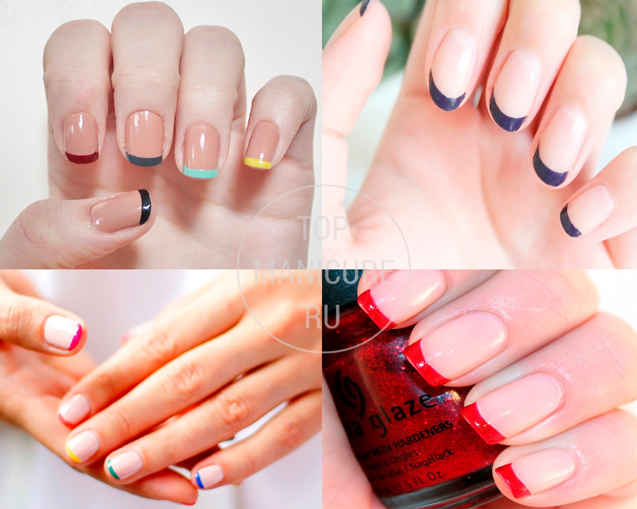 Бежевые ногти с цветным френчем