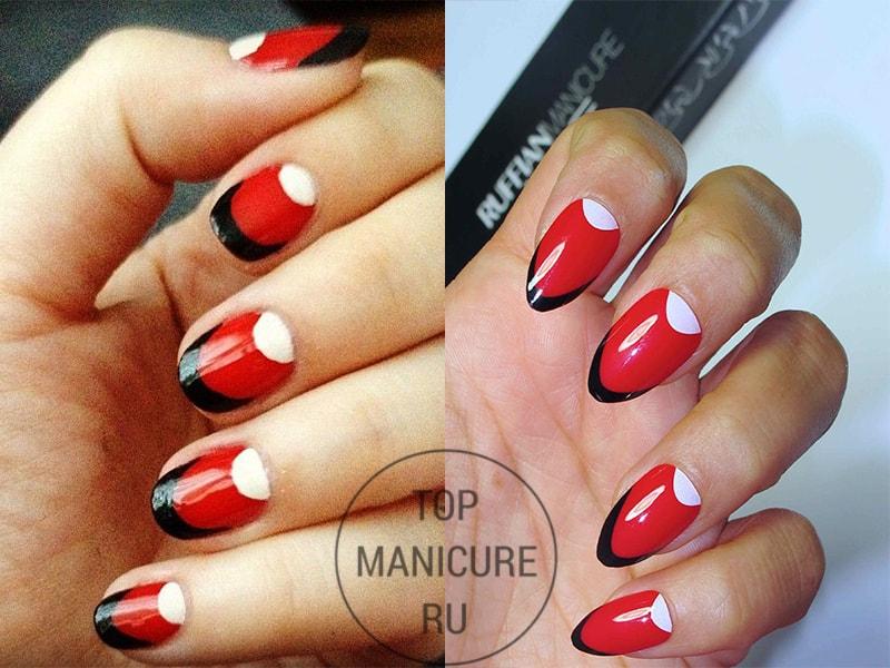 Черно-бело-красный маникюр