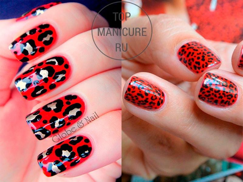 Черно-красный леопардовый маникюр