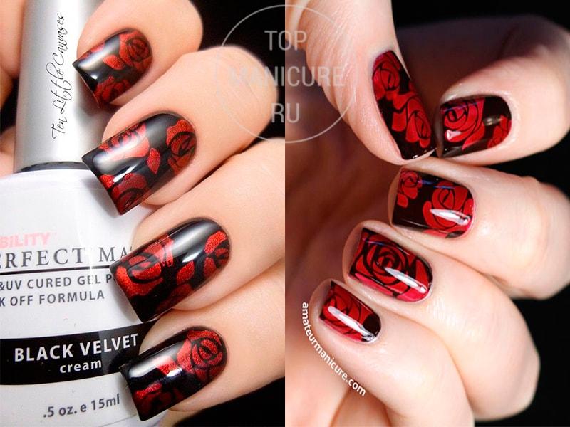 Черно-красный маникюр с розами