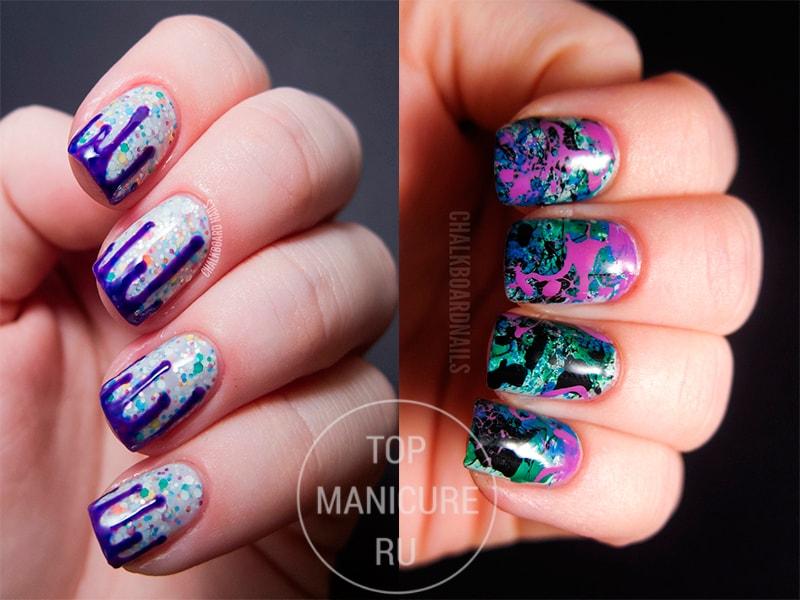 Фиолетовые ногти с брызгами