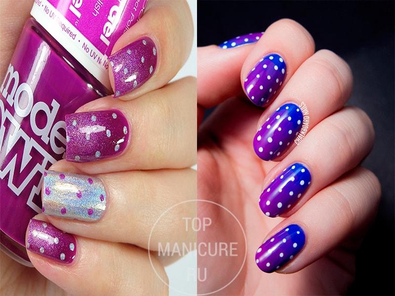 Фиолетовые ногти в горошек