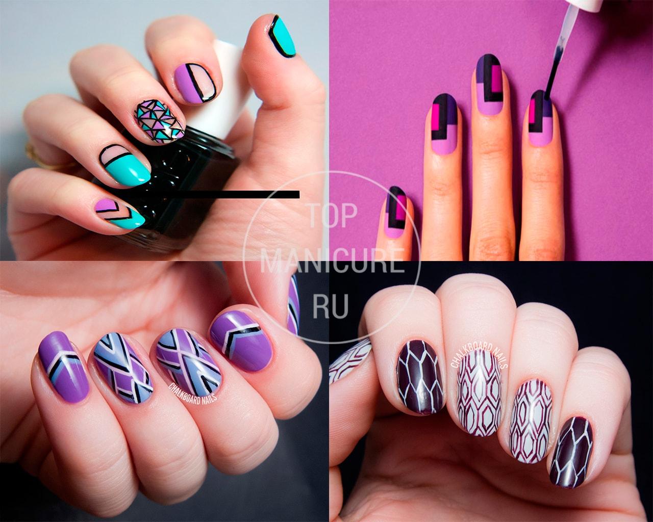 Фиолетовый геометрический маникюр