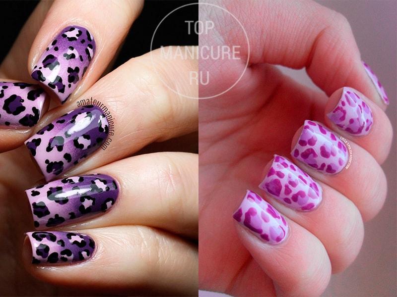 Фиолетовый леопардовый маникюр
