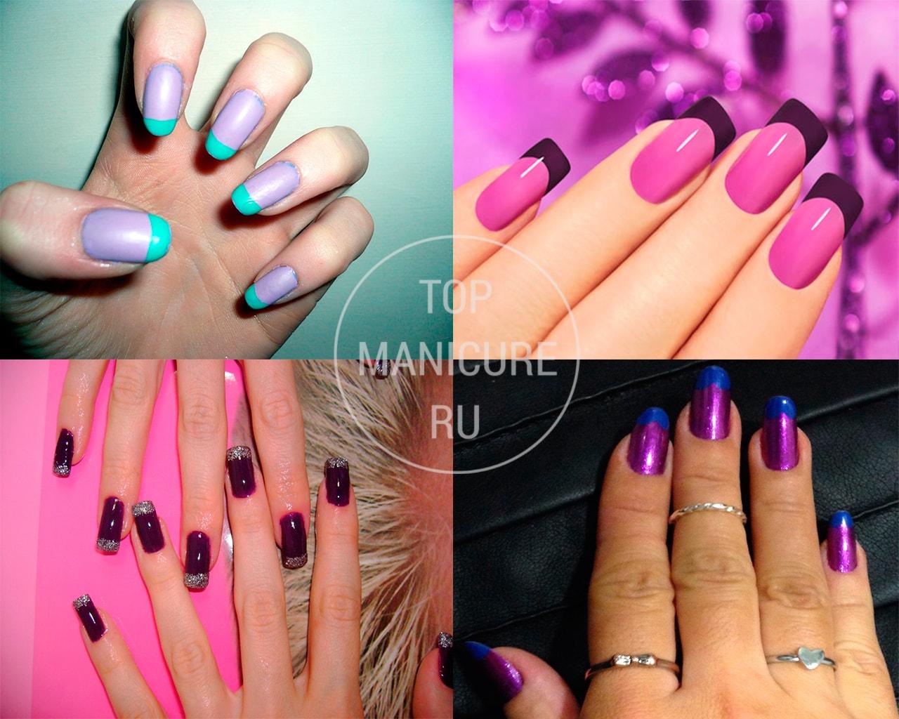 Фиолетовый маникюр френч