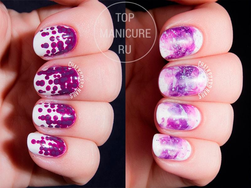 Фиолетовый маникюр с брызгами