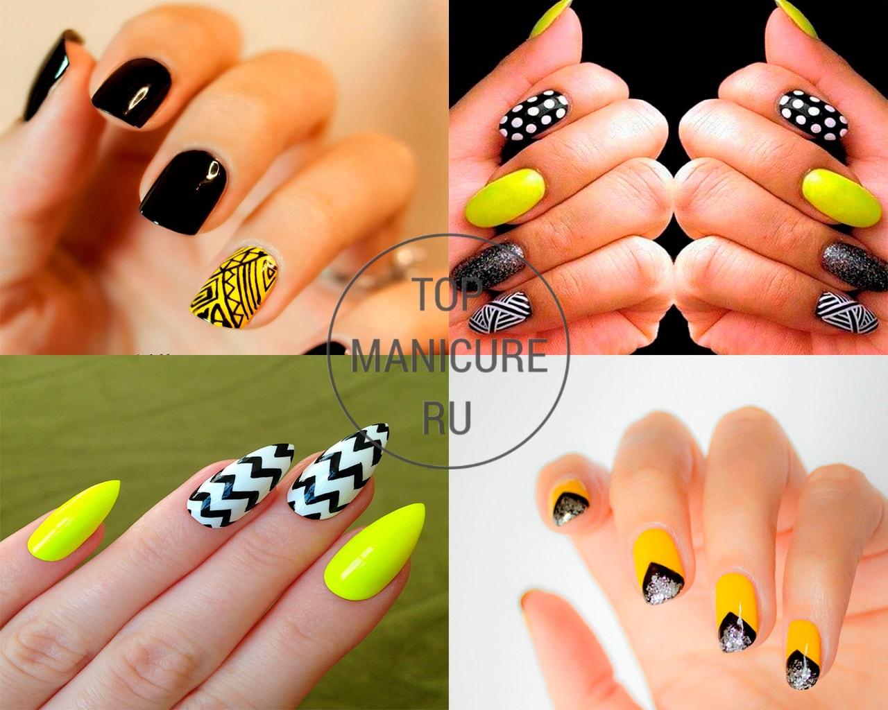 Геометрический черно-желтый маникюр