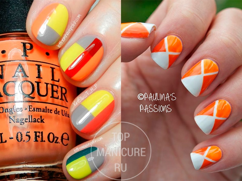 Геометрический оранжевый маникюр