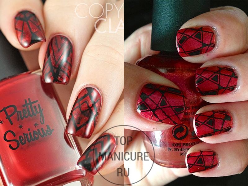 Геометрический стемпинг на красных ногтях