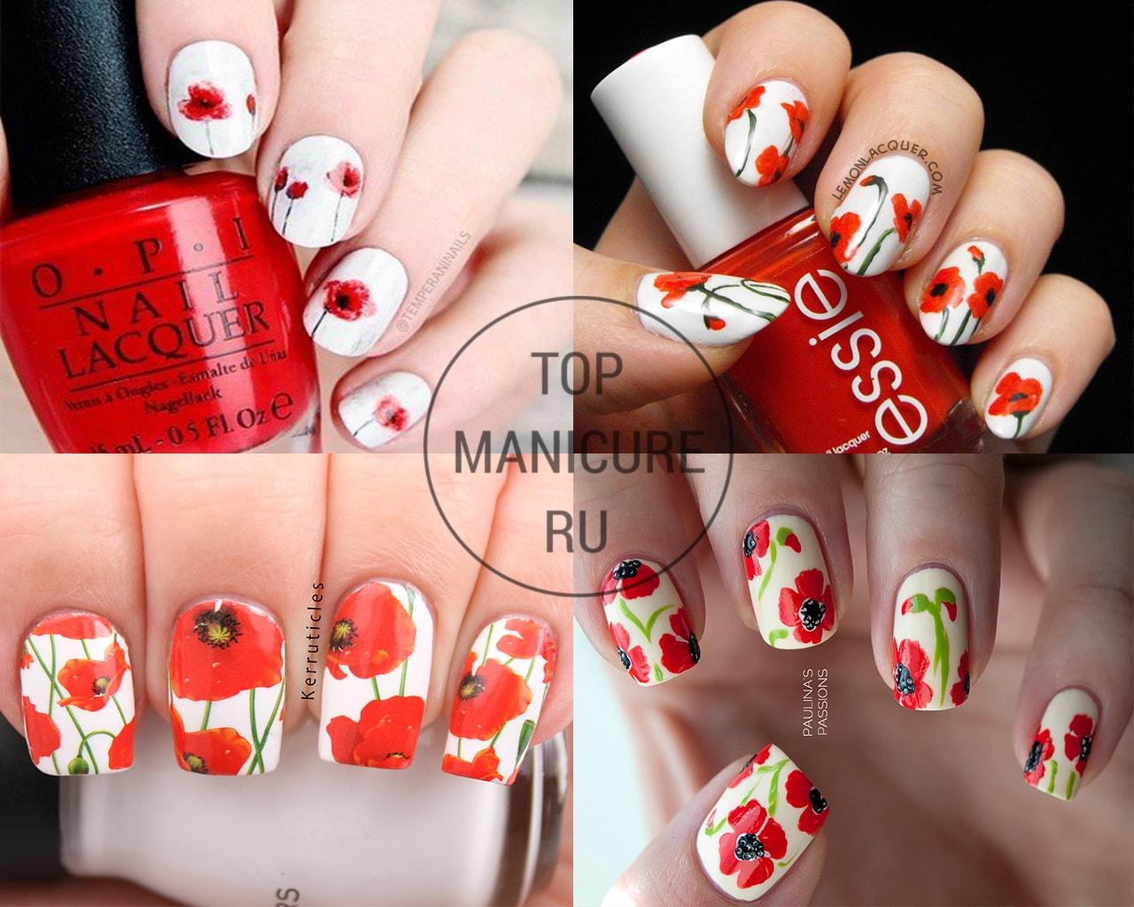 Красные маки на ногтях
