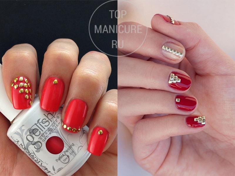 Красные ногти с клепками