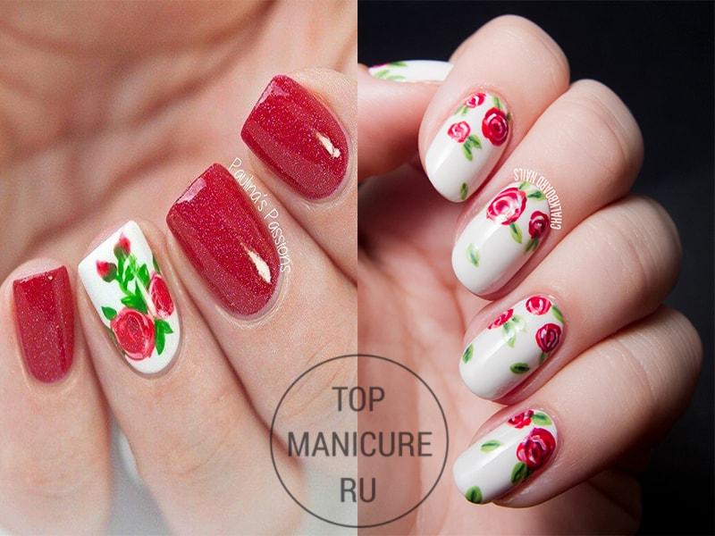 Красные розы на ногтях