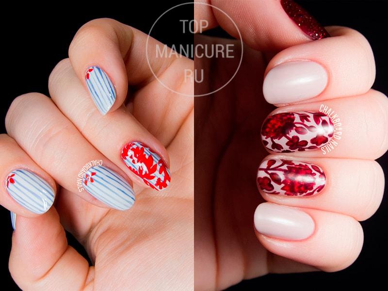 Красные цветы на ногтях