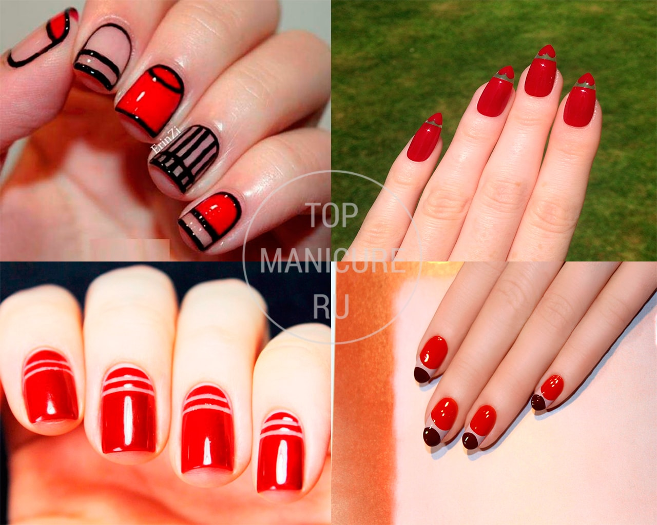 Красный дизайн ногтей - Прозрачный маникюр