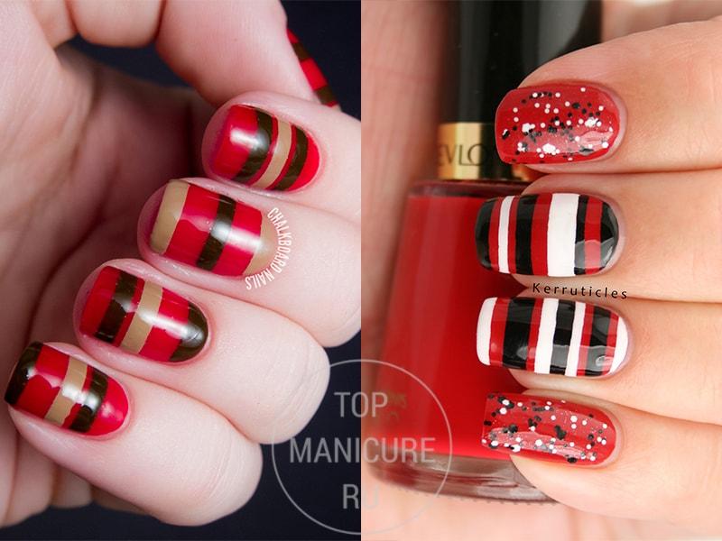 Красно-коричневый маникюр с полосками