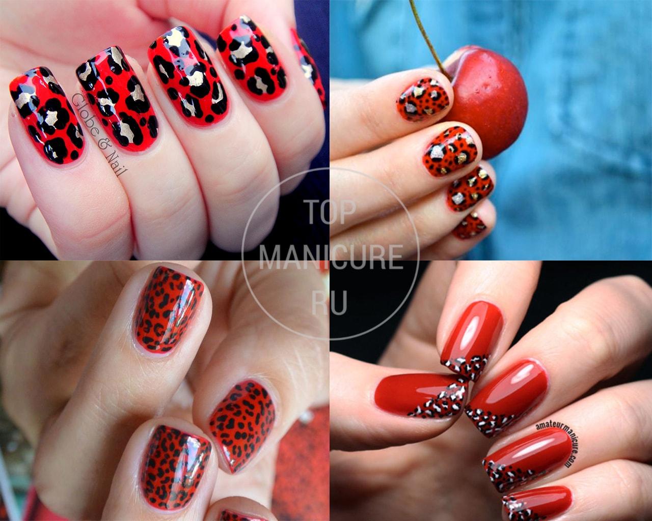 Леопардовый красный маникюр