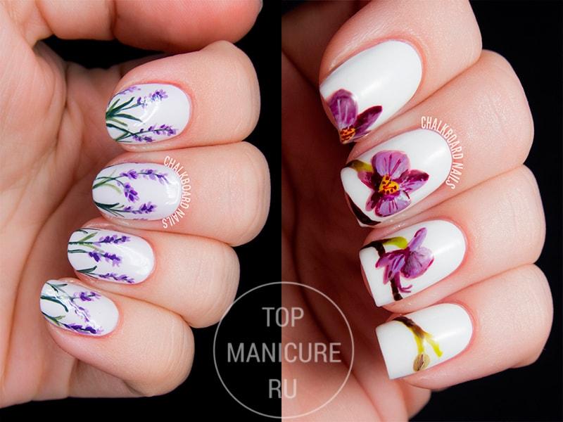 Маникюр фиолетовые цветы